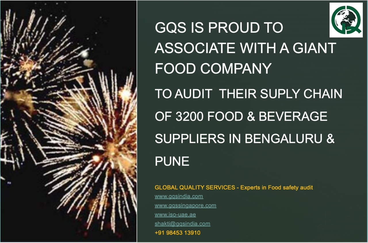GQS kick starts audits of 3200 F&B supply chain of a large food related company